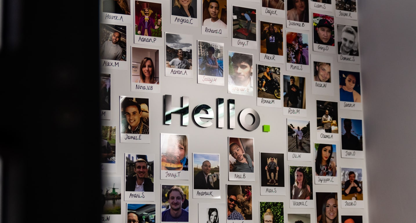 Hello from Rockar Faces of Employees on Wall